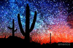 digital-art-abstract-desert-cacti-and-the-starry-night-sky-natalie-kinnear